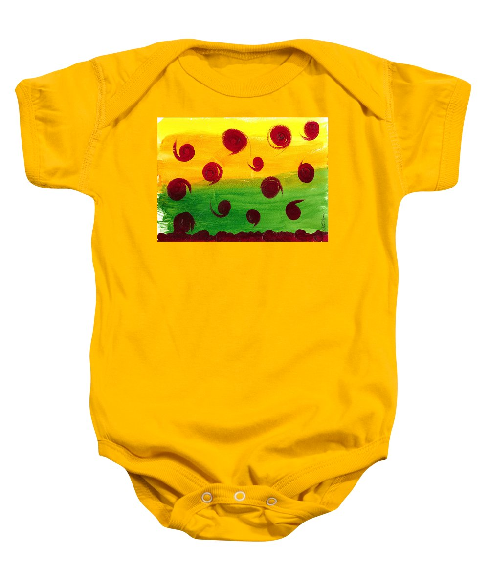 Orbs Baby Onesie featuring the painting Orb Soup by Kate Hopson