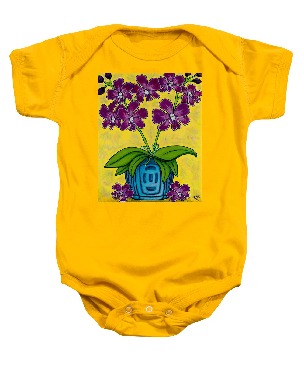 Orchids Baby Onesie featuring the painting Orchid Delight by Lisa Lorenz