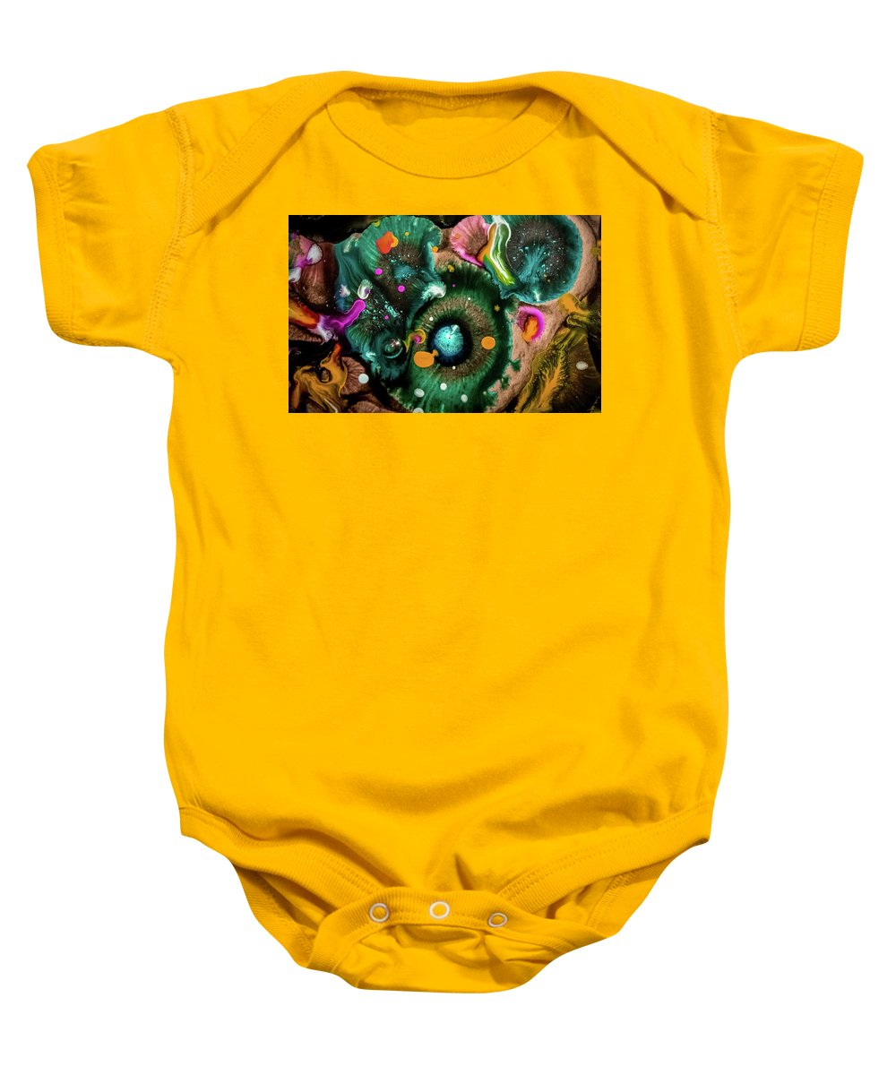 Organic Abstract Baby Onesie featuring the mixed media Organic Abstract 3 by Lilia D