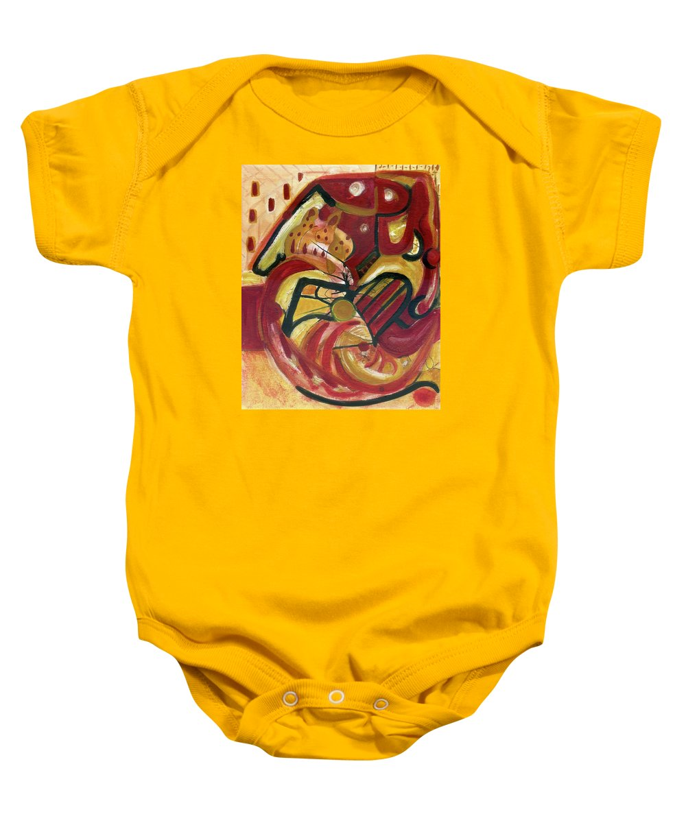Wall Art Original Abstract Paintings Baby Onesie featuring the painting The Cat by Stephen Lucas