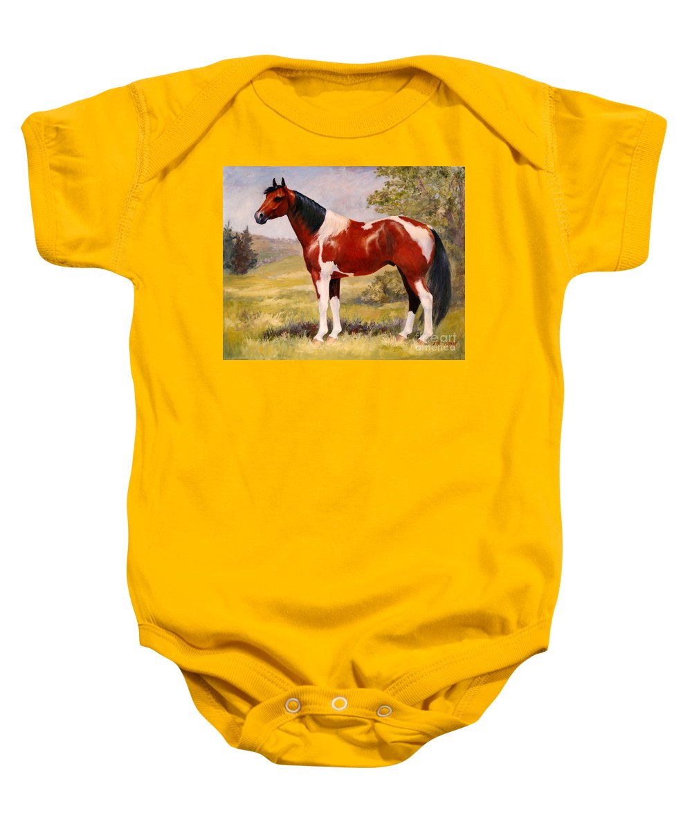 Paint Baby Onesie featuring the painting Paint Horse Gelding Portrait Oil Painting - Gizmo by Kim Corpany