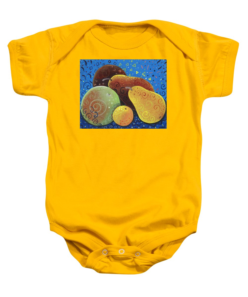 Fruit Baby Onesie featuring the painting Painted Fruit by Helena Tiainen