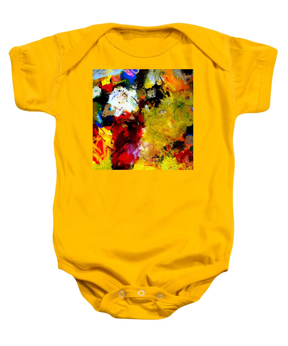 Rustic Baby Onesie featuring the painting Palette Abstract Square by Michelle Calkins