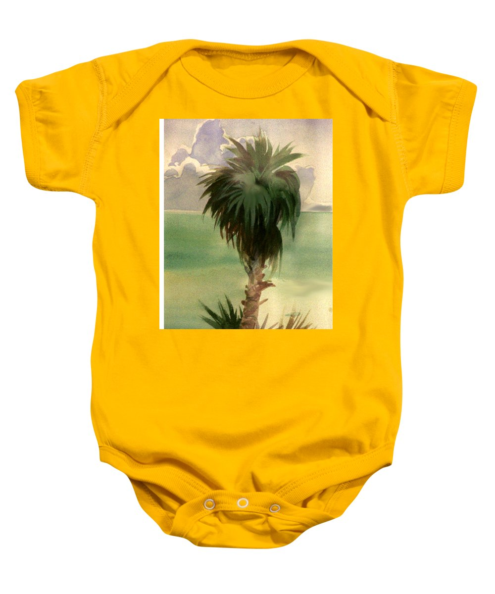 Palm Baby Onesie featuring the painting Palm At Horseshoe Cove by Neal Smith-Willow
