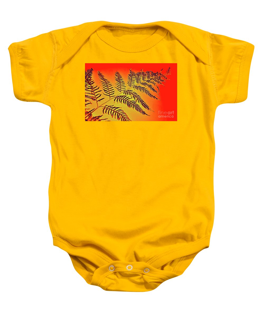 Palm Frond In The Summer Heat Baby Onesie featuring the photograph Palm Frond In The Summer Heat by Kaye Menner