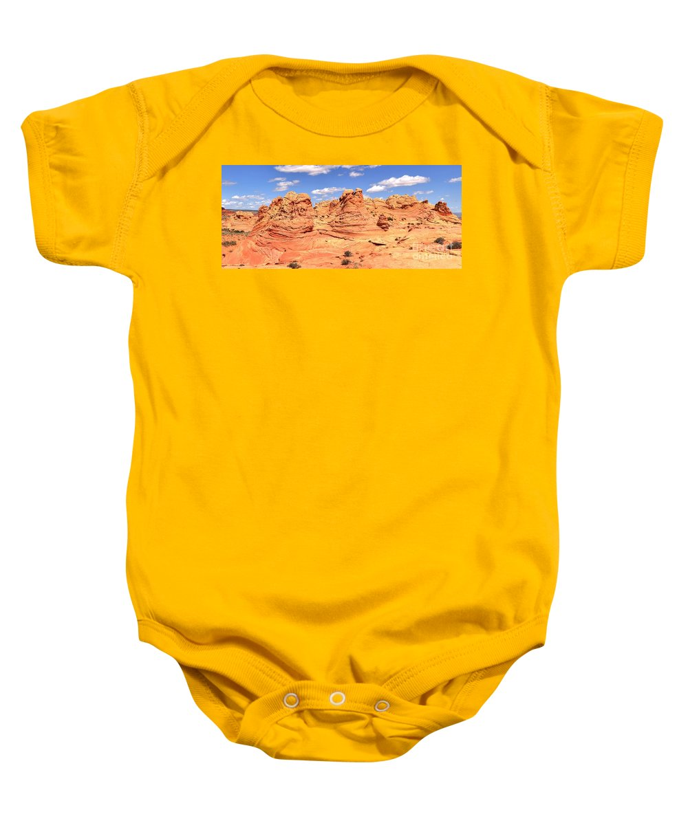 Vermilion Cliffs Panorama Baby Onesie featuring the photograph Panoramic Desert Landscape Fantasyland by Adam Jewell