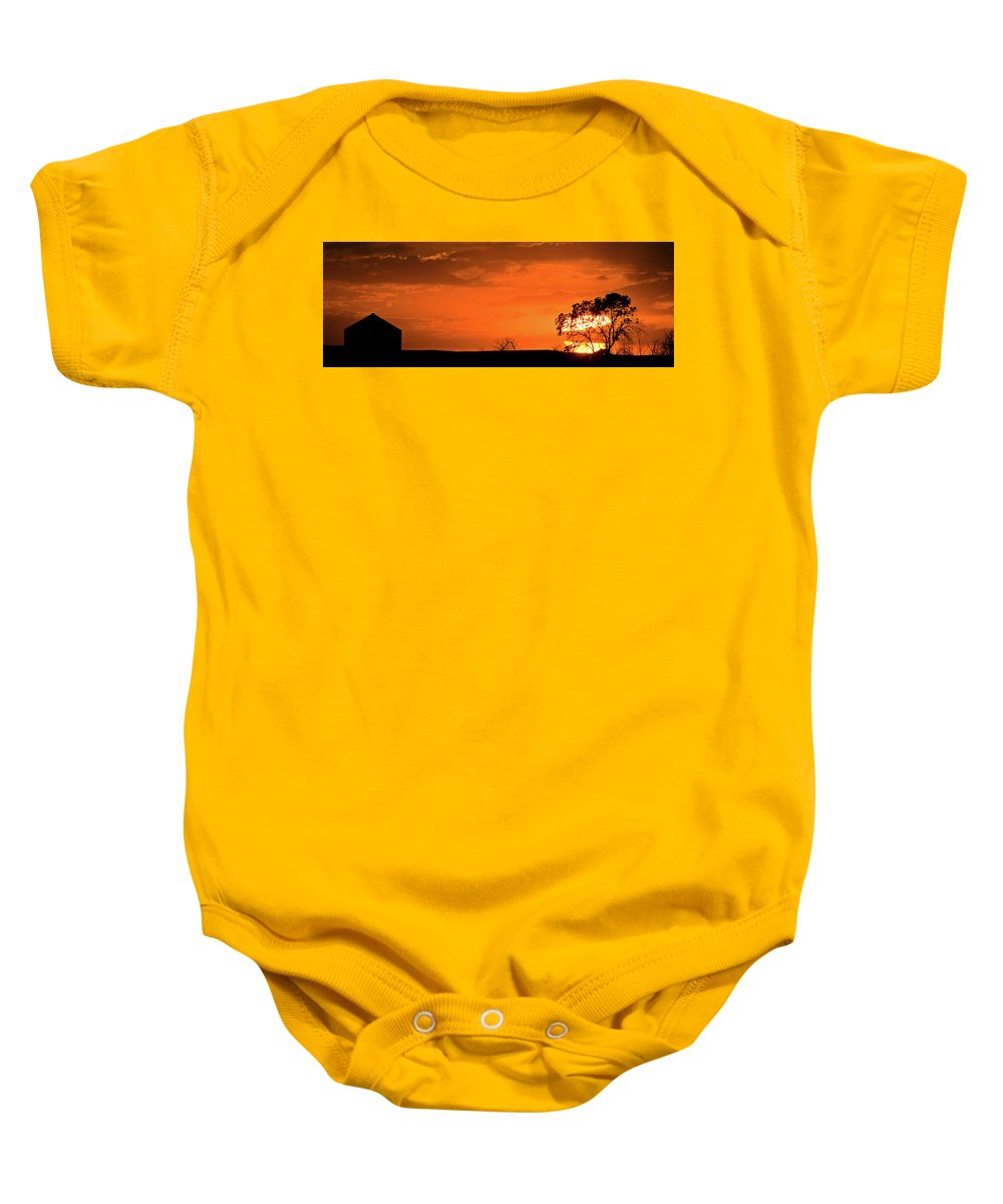 Baby Onesie featuring the digital art Panoramic Prairie Sunset by Mark Duffy