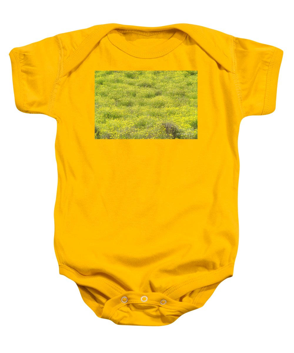 Abstract Baby Onesie featuring the photograph Parker Ranch Field Of Yellow by Carl Shaneff - Printscapes