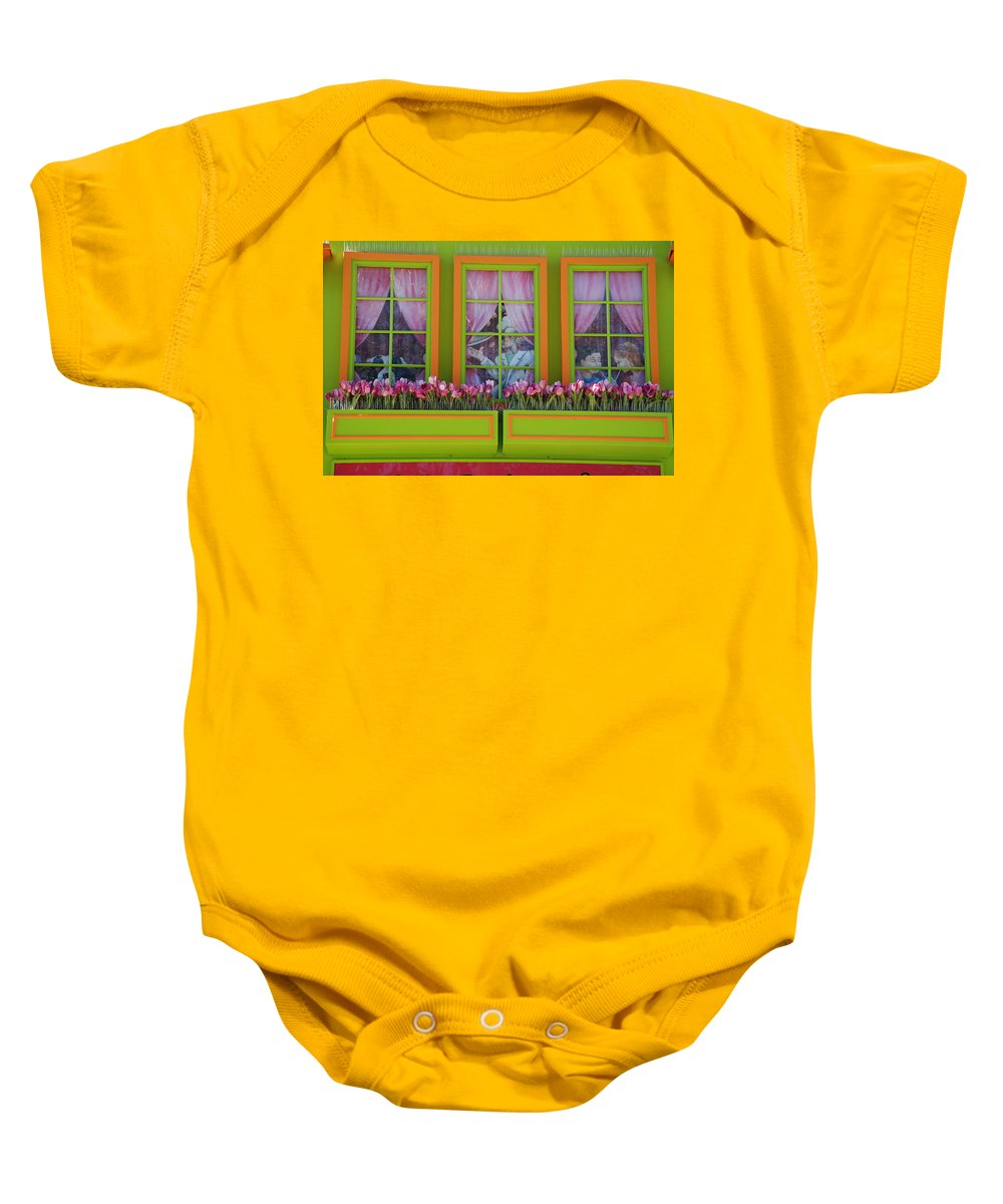 Architecture Baby Onesie featuring the photograph Pastle Windows by Rob Hans