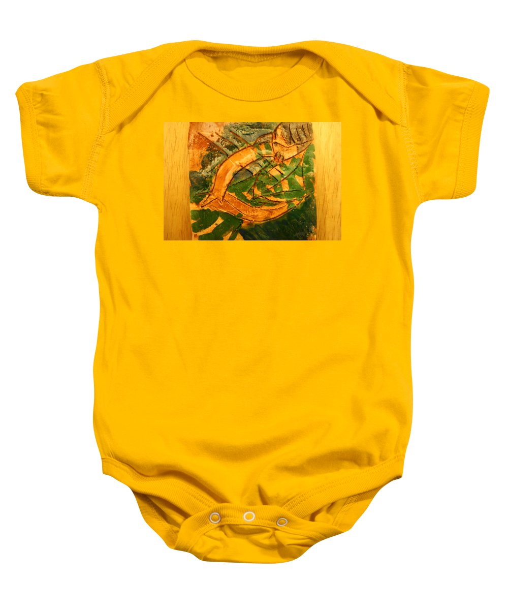 Jesus Baby Onesie featuring the ceramic art Patience - Tile by Gloria Ssali
