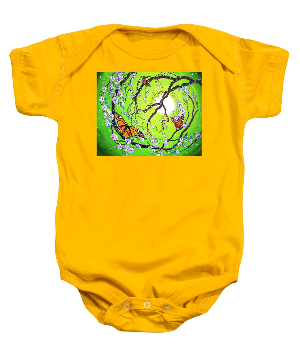 Zen Baby Onesie featuring the painting Peace Tree With Monarch Butterflies by Laura Iverson