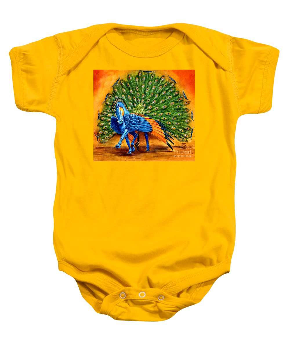 Horse Baby Onesie featuring the painting Peacock Pegasus by Melissa A Benson