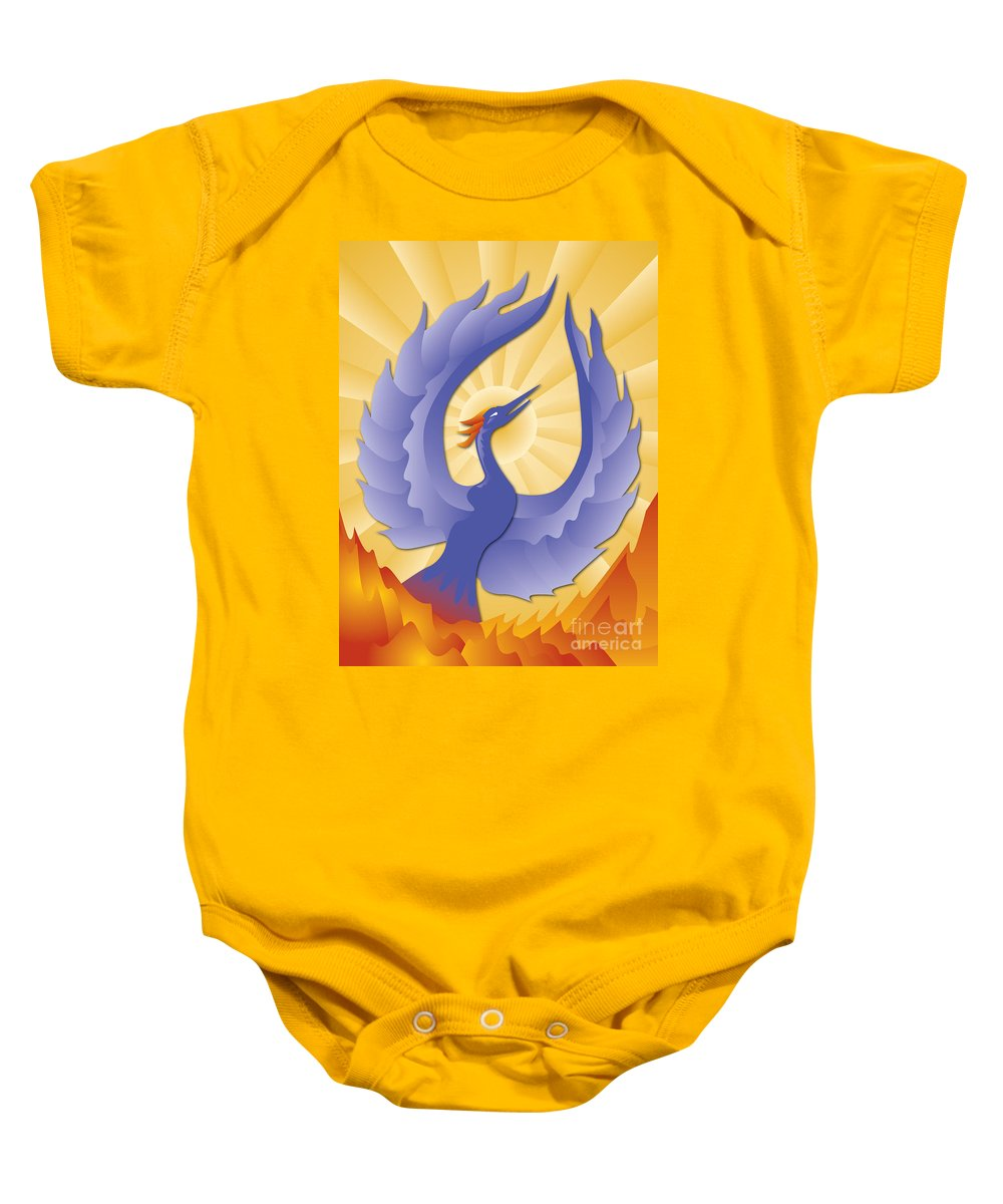 Phoenix Baby Onesie featuring the digital art Phoenix Rising by Joe Barsin