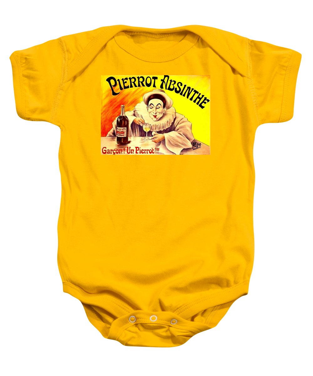 Pierro Baby Onesie featuring the drawing Pierrot Absinthe by Marianne Dow