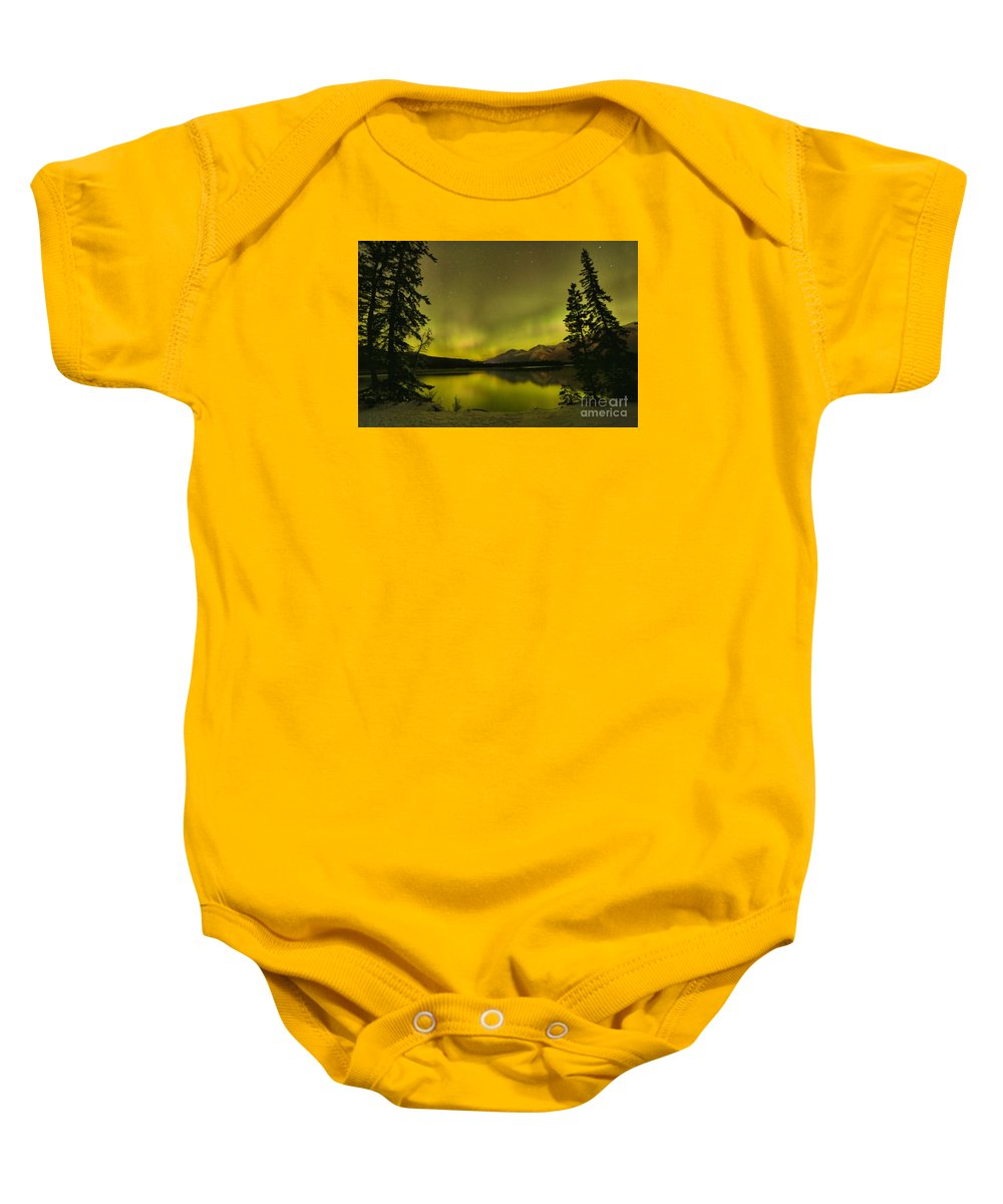 Canadian Northern Lights Baby Onesie featuring the photograph Pine Tree Silhouettes by Adam Jewell