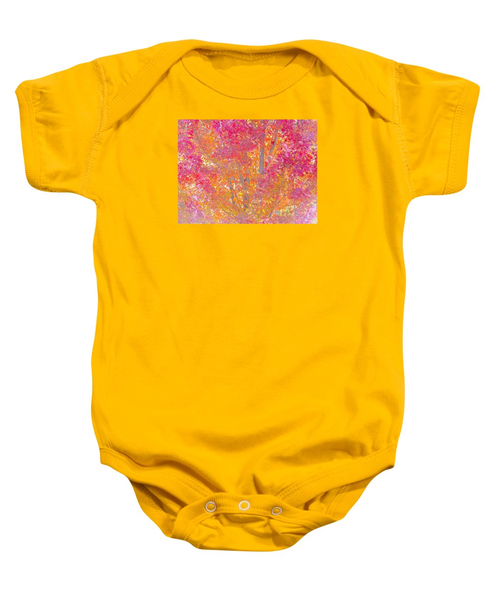 Pink Baby Onesie featuring the photograph Pink And Orange Autumn 2 by Wendy Yee