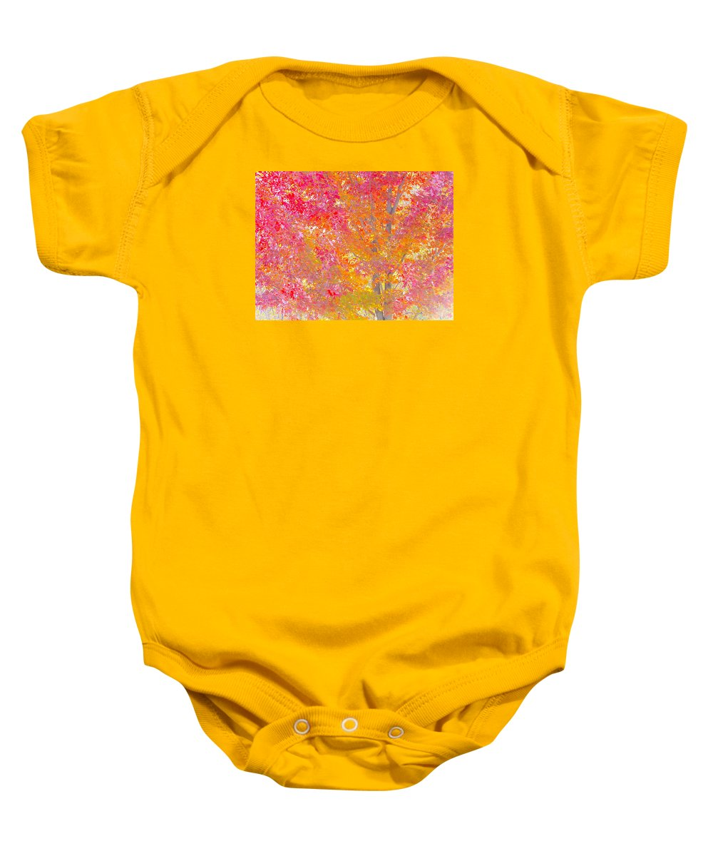 Pink Baby Onesie featuring the photograph Pink And Orange Autumn by Wendy Yee