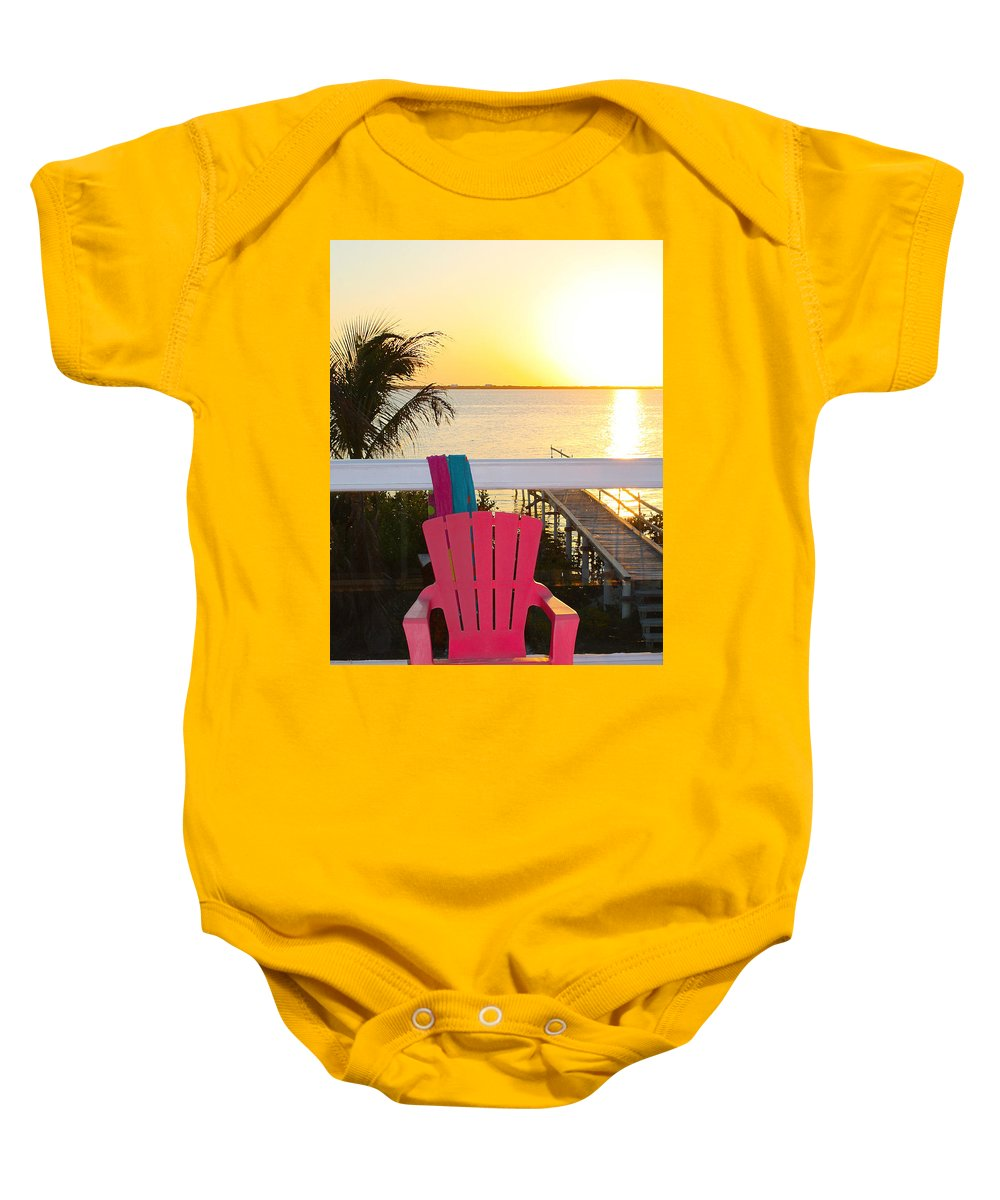 Florida Keys Baby Onesie featuring the photograph Pink Chair In The Keys by Susan Vineyard