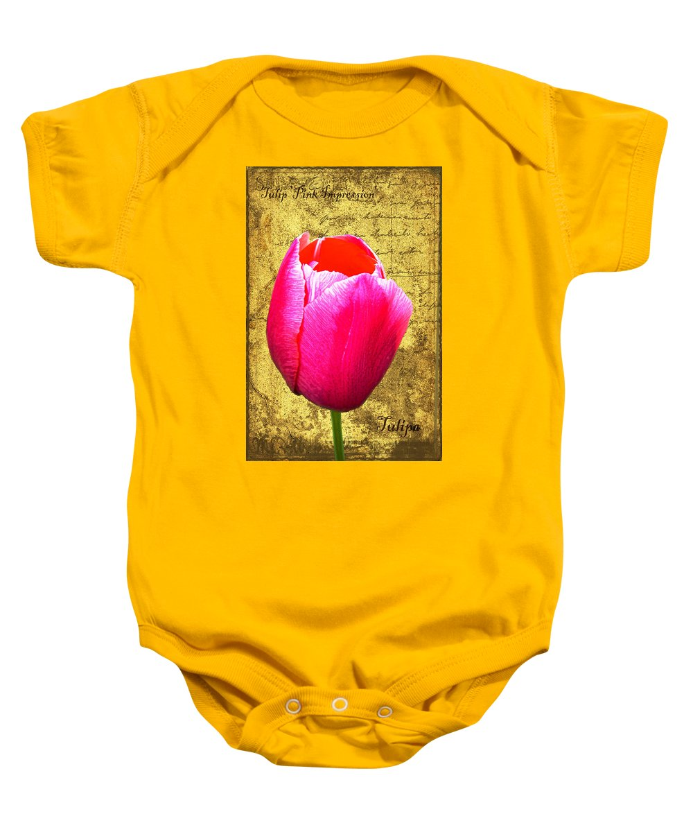 Pink Baby Onesie featuring the digital art Pink Impression Tulip by Teresa Mucha