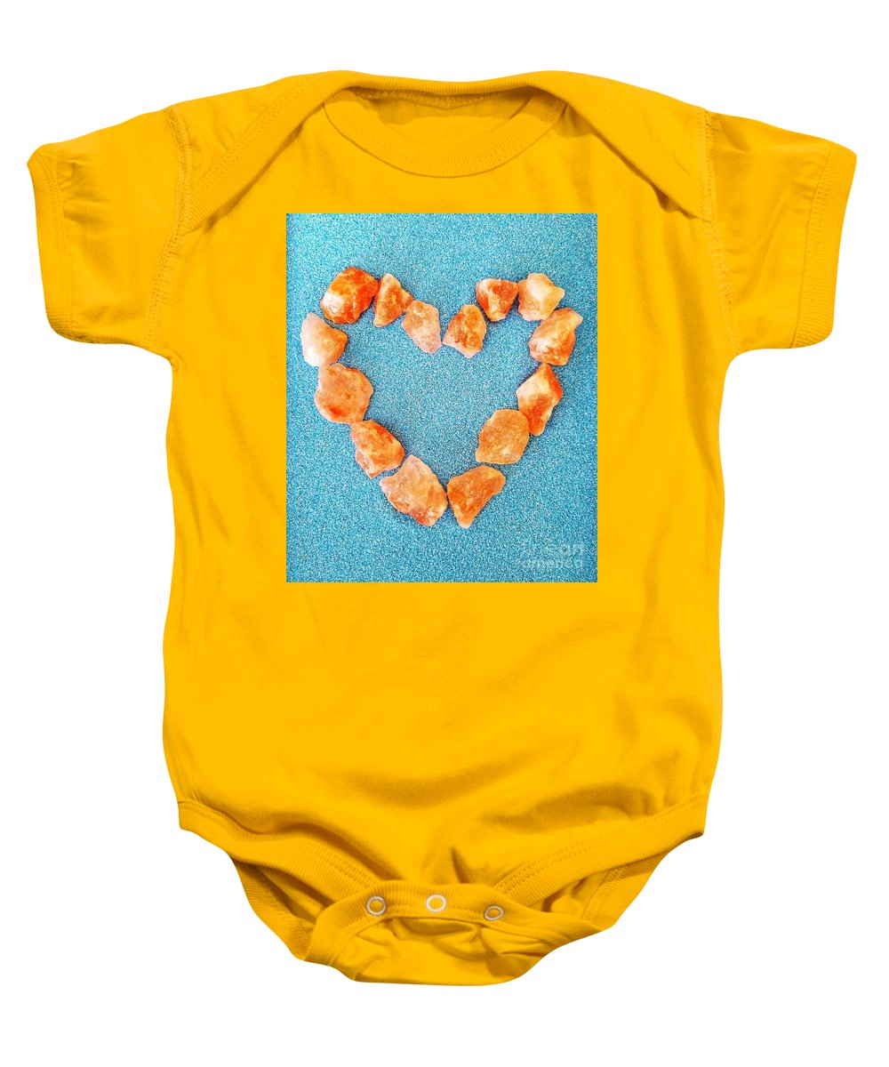 Love Baby Onesie featuring the photograph Pink Rocks Heart by Rachel Hannah