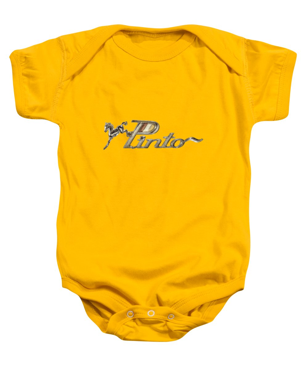 Automotive Baby Onesie featuring the photograph Pinto Car Badge by YoPedro