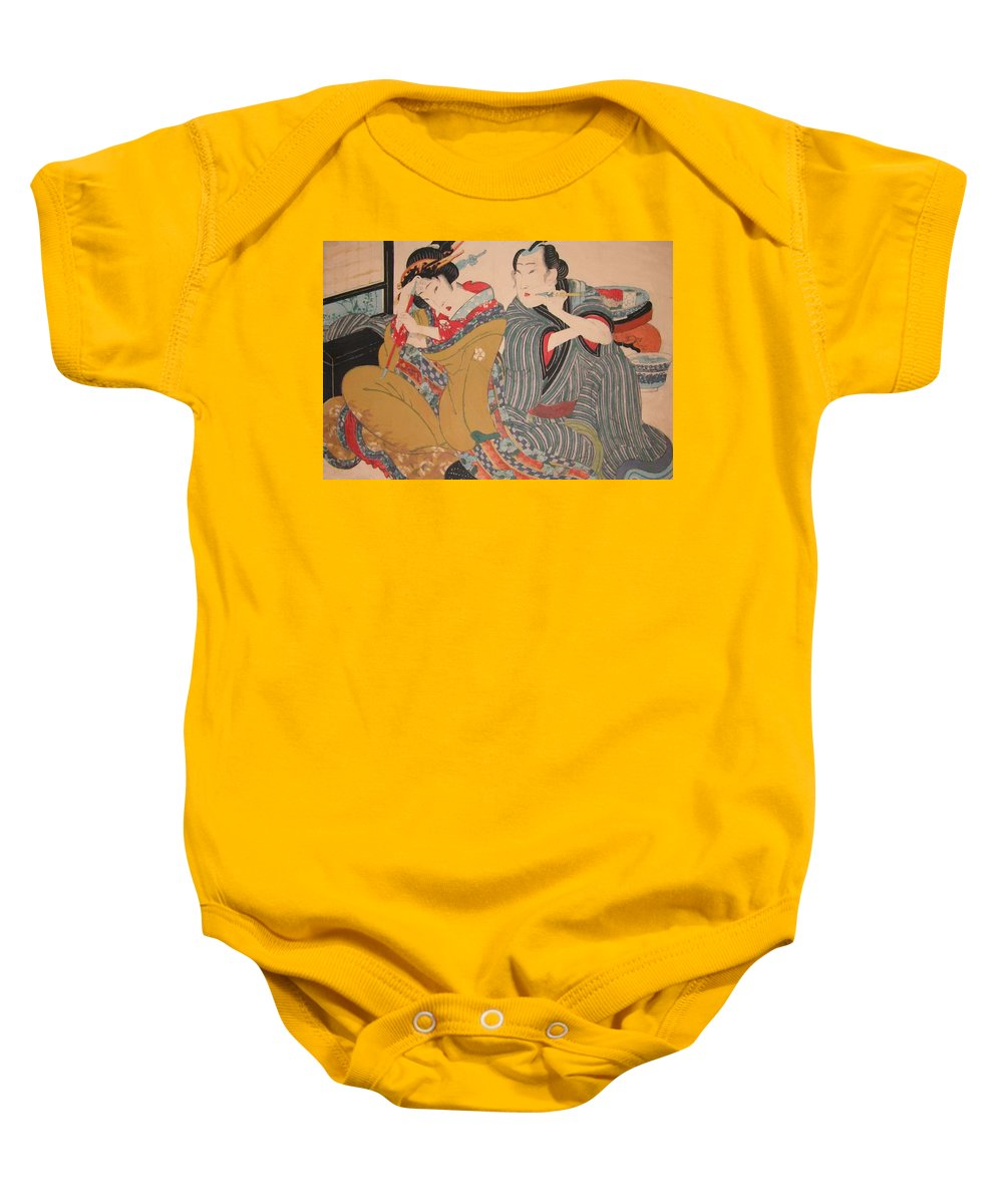 Pipe Baby Onesie featuring the painting Pipe Smokers 1835 by Eisen Keisai