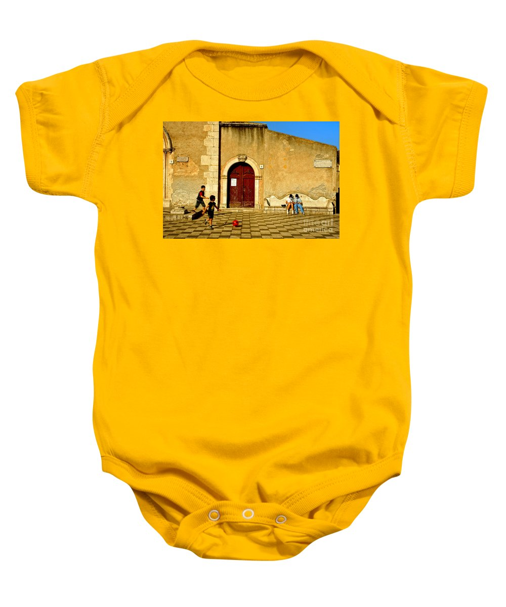 Antique Baby Onesie featuring the photograph Playing In Taormina by Silvia Ganora