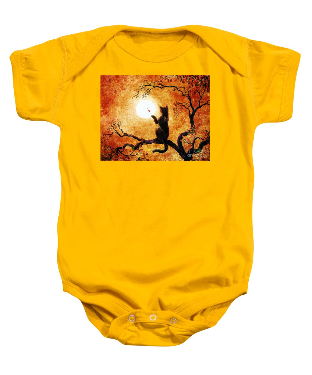 Zen Baby Onesie featuring the painting Playing On Halloween Afternoon by Laura Iverson
