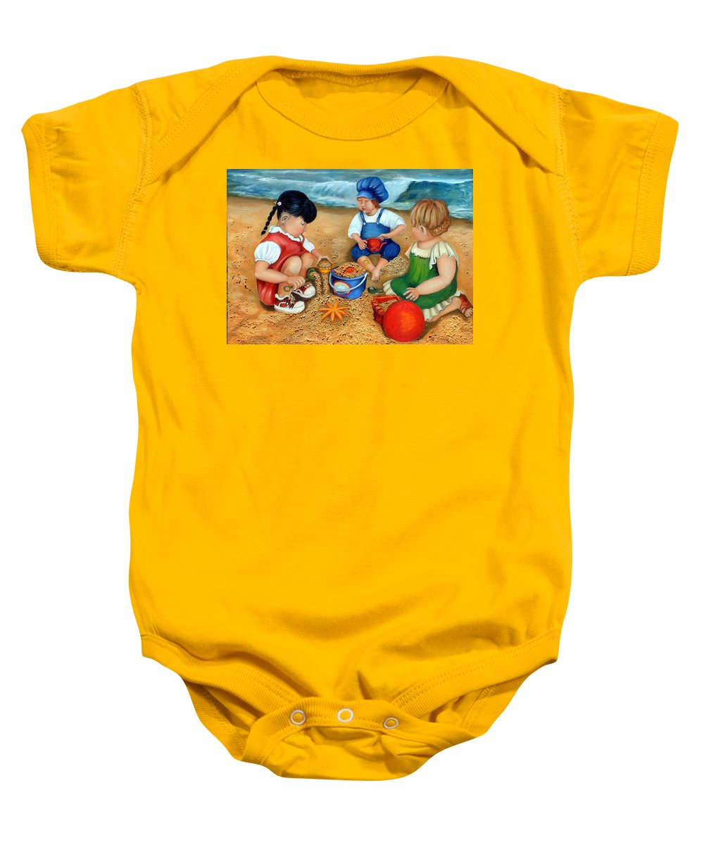 Beach Baby Onesie featuring the painting Playtime At The Beach by Portraits By NC