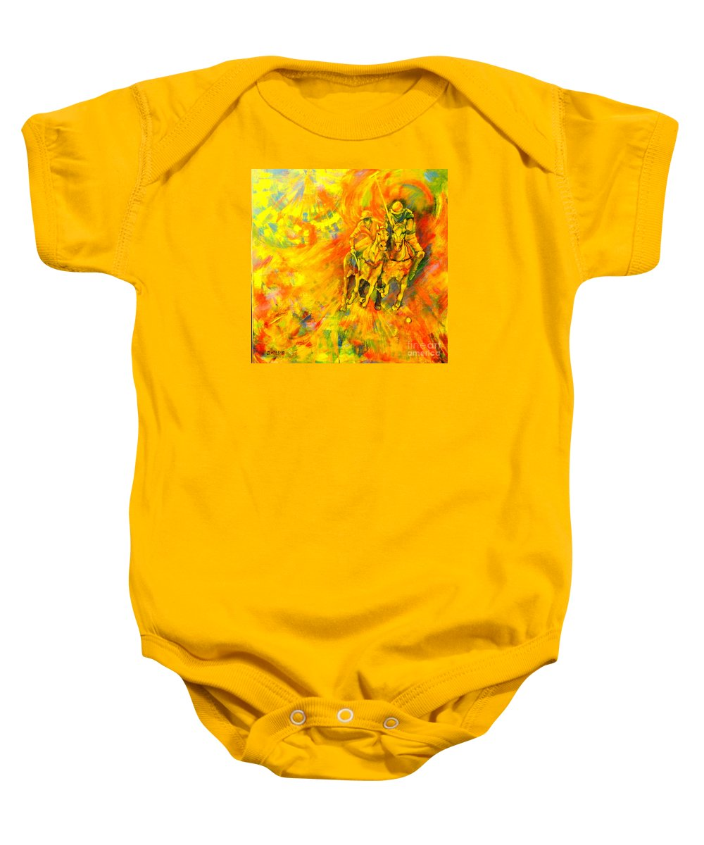 Horses Baby Onesie featuring the painting Poloplayer by Dagmar Helbig
