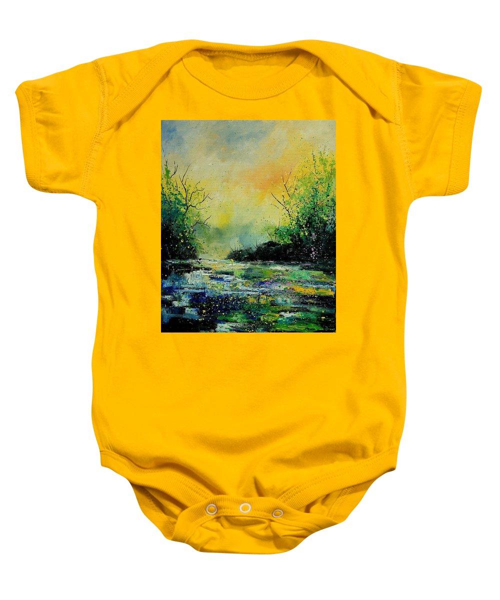 Water Baby Onesie featuring the painting Pond 459060 by Pol Ledent