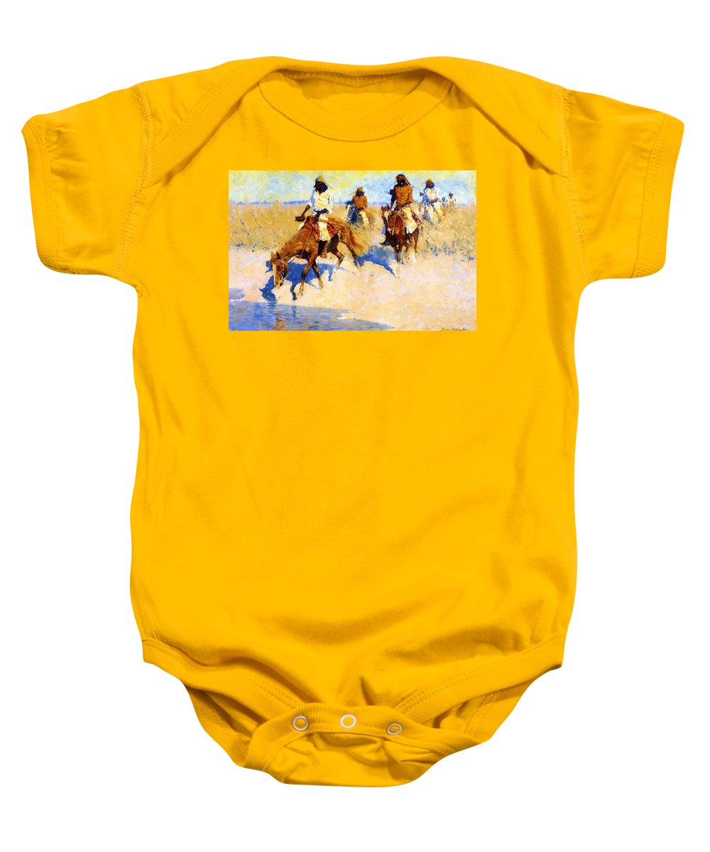 Pool Baby Onesie featuring the painting Pool In The Desert 1907 by Remington Frederic