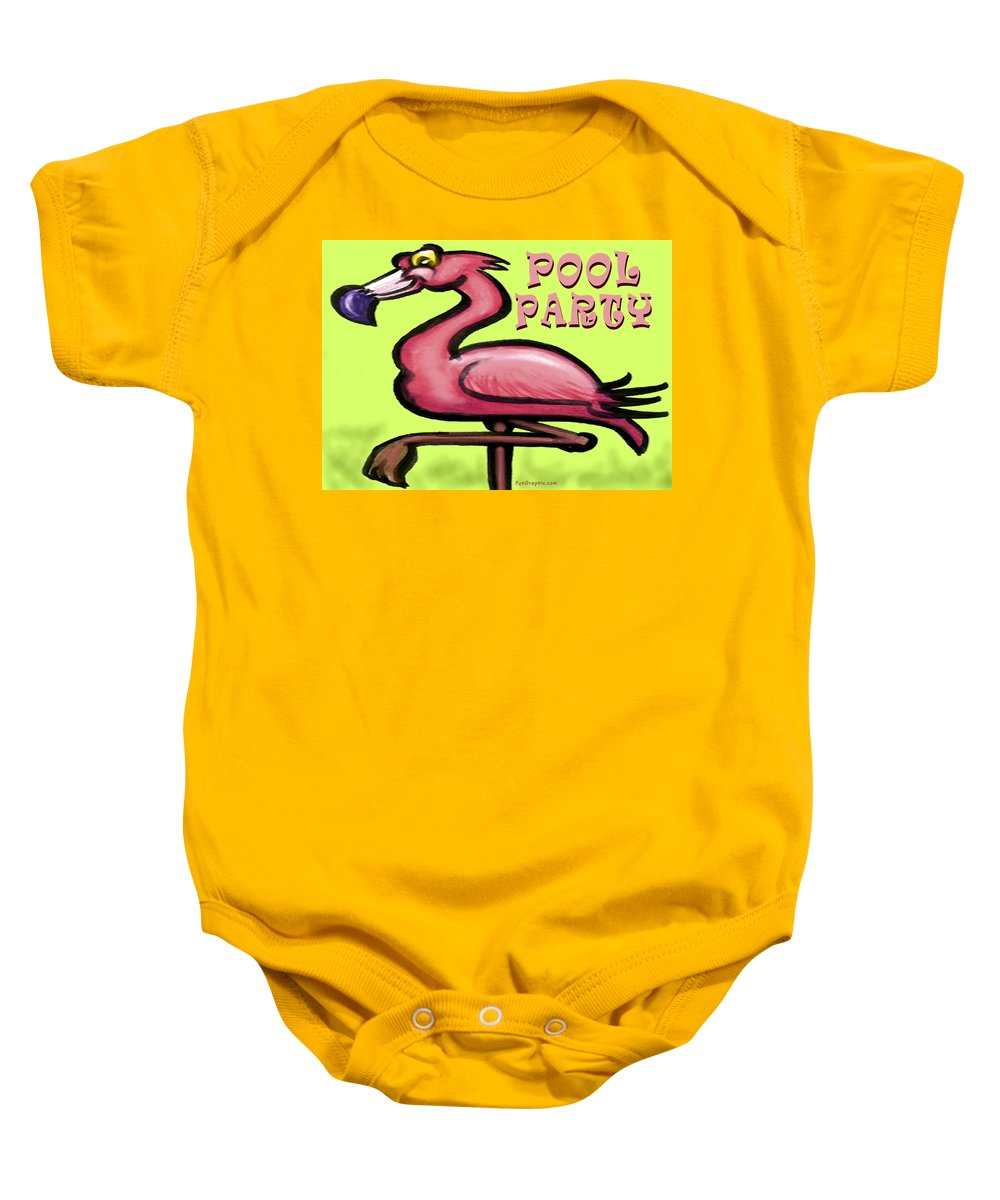Pool Baby Onesie featuring the greeting card Pool Party by Kevin Middleton