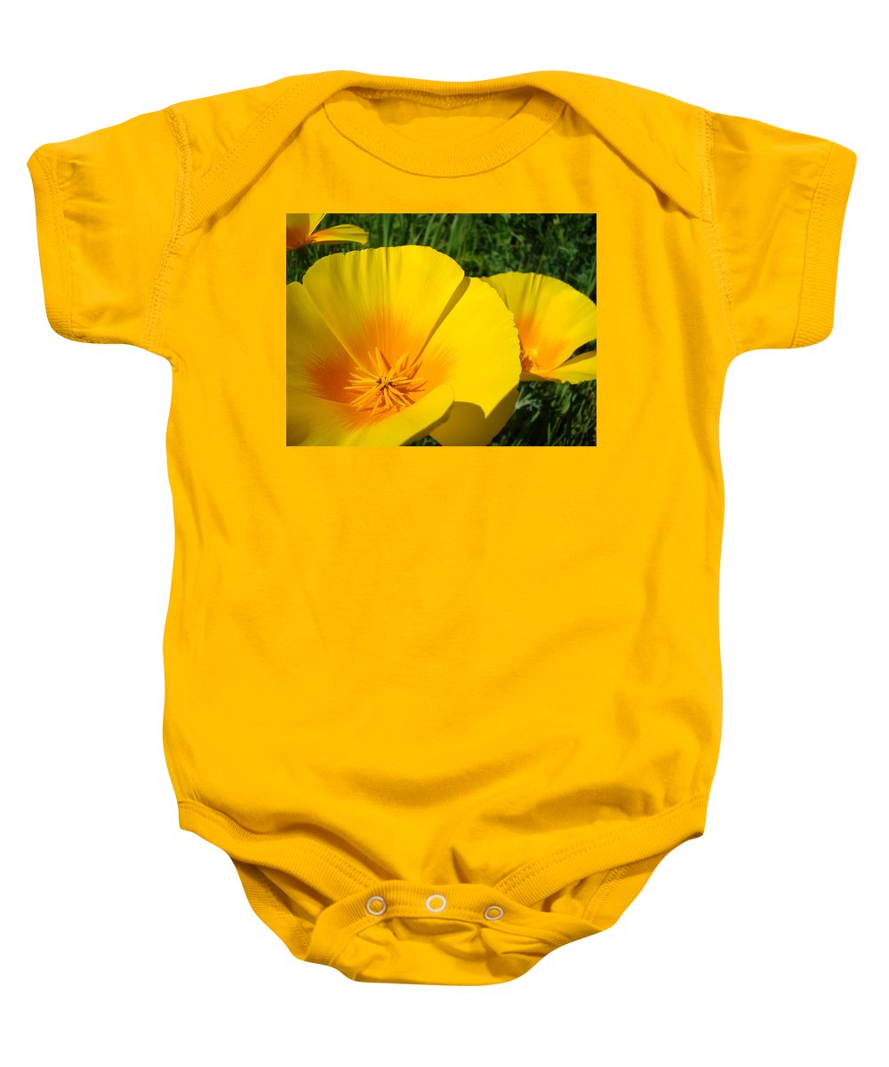 �poppies Artwork� Baby Onesie featuring the photograph Poppies Art Poppy Flowers 4 Golden Orange California Poppies by Baslee Troutman