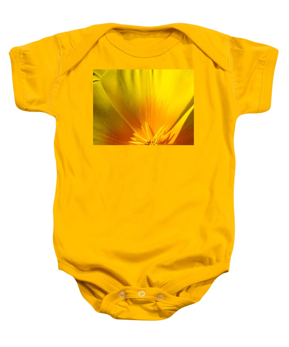 �poppies Artwork� Baby Onesie featuring the photograph Poppies Orange Poppy Flower Close Up 2 Sunlit Poppy Baslee Troutman by Baslee Troutman