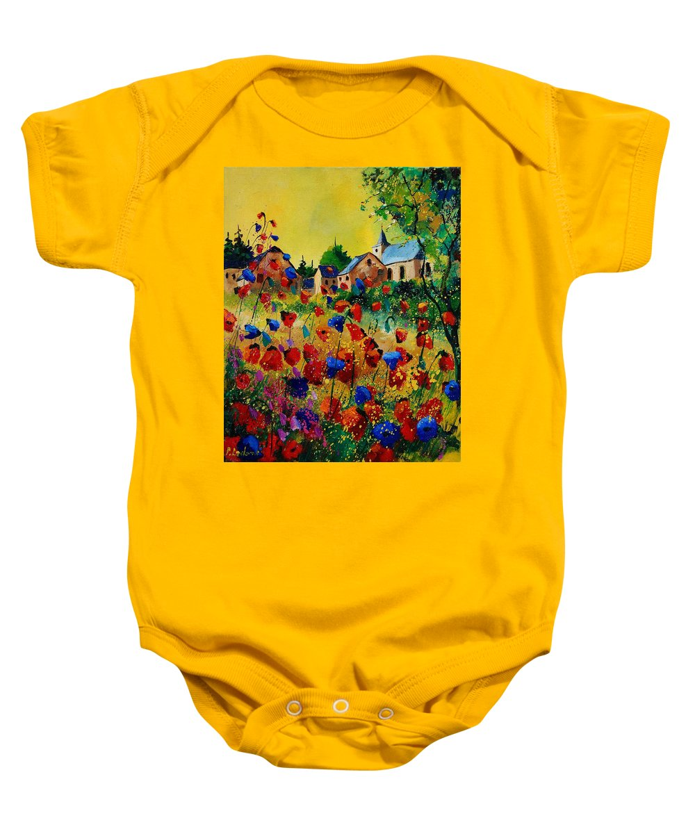 Flowers Baby Onesie featuring the painting Poppies Sosoye by Pol Ledent