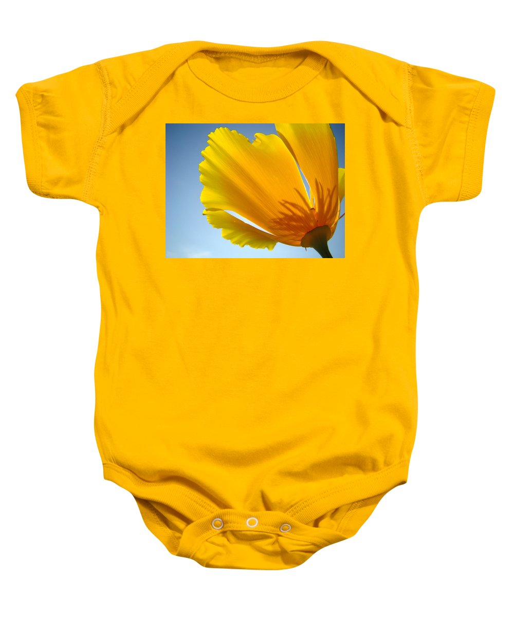 �poppies Artwork� Baby Onesie featuring the photograph Poppy Flower Art Print Poppies 13 Botanical Floral Art Blue Sky by Baslee Troutman