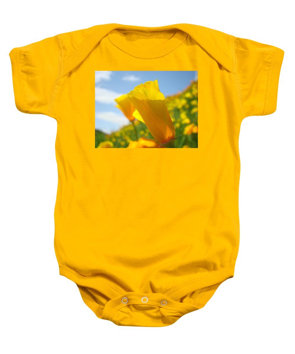 �poppies Artwork� Baby Onesie featuring the photograph Poppy Flowers Meadow 3 Sunny Day Art Blue Sky Landscape by Baslee Troutman