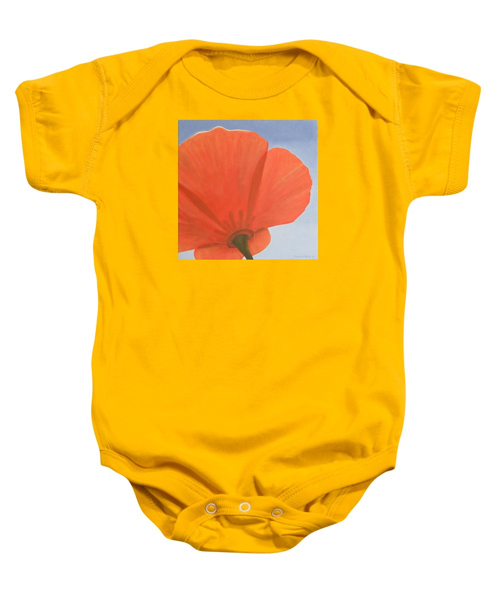 Flower Baby Onesie featuring the painting Poppy by Rob De Vries