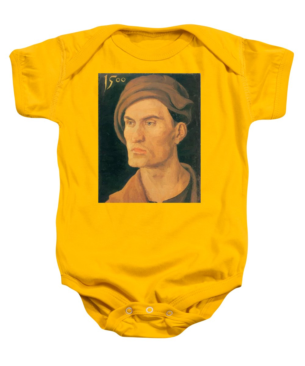 Portrait Baby Onesie featuring the painting Portrait Of A Young Man 1500 by Durer Albrecht