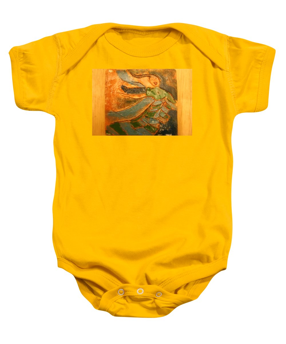Jesus Baby Onesie featuring the ceramic art Praise Him - Tile by Gloria Ssali