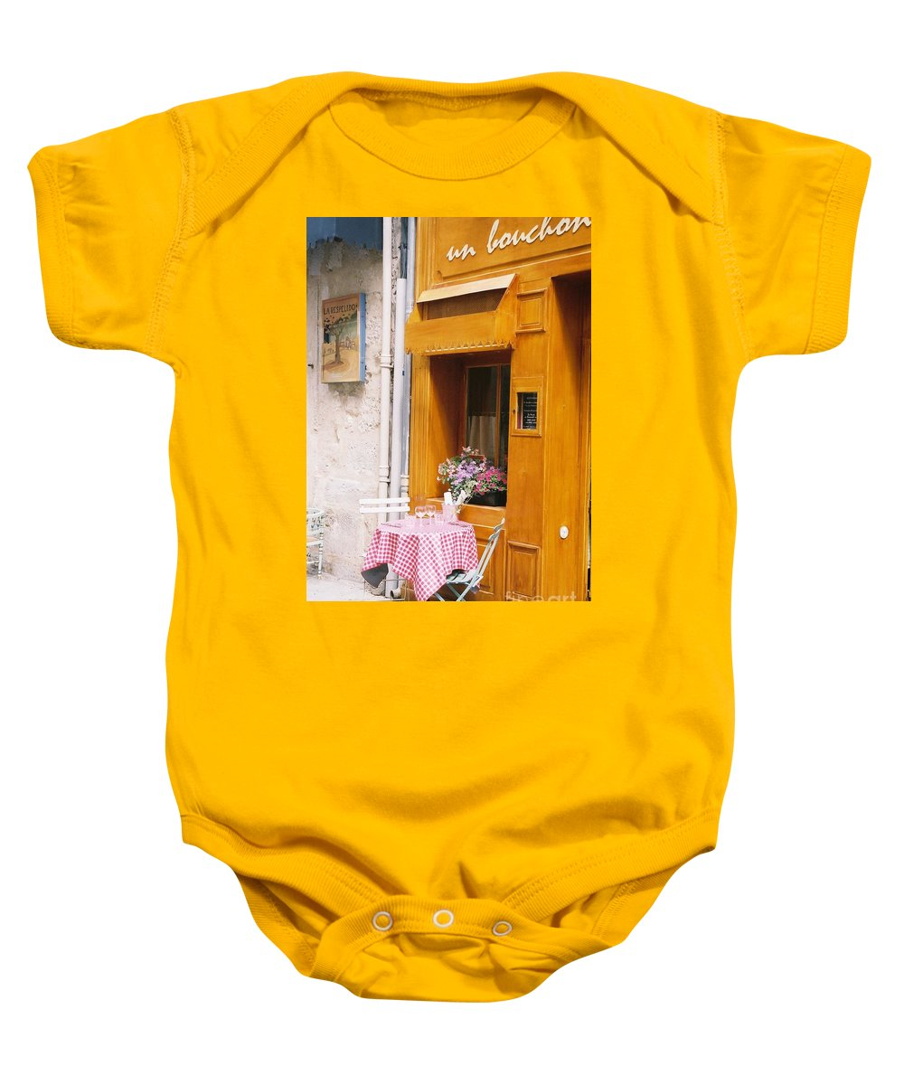 Cafe Baby Onesie featuring the photograph Provence Cafe by Nadine Rippelmeyer