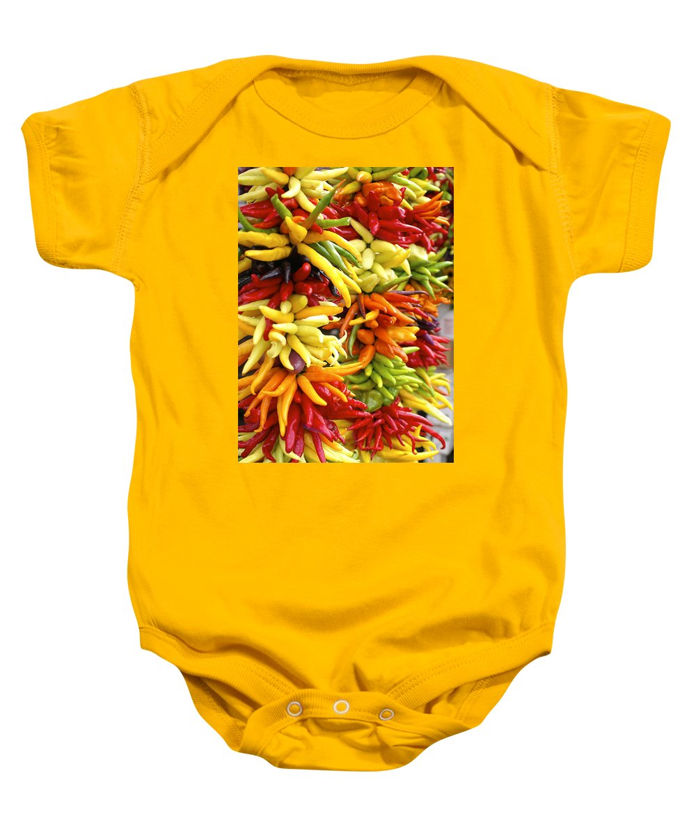 Peppers Baby Onesie featuring the photograph Public Market Peppers by Henri Irizarri