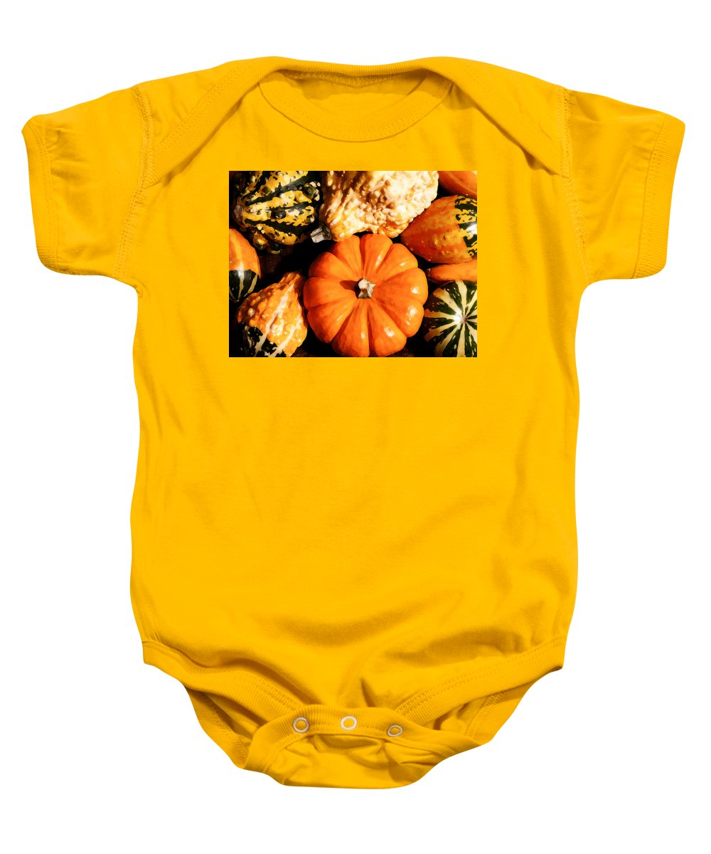 Pumpkin Baby Onesie featuring the photograph Pumkin And Gourds by Steven Sparks