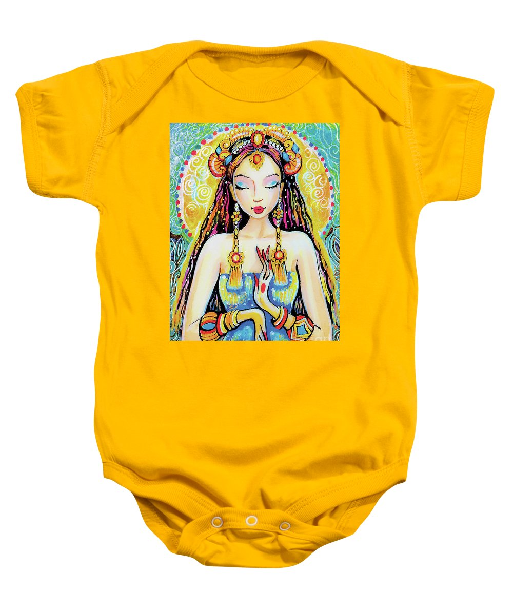 Indian Goddess Baby Onesie featuring the painting Quan Yin by Eva Campbell