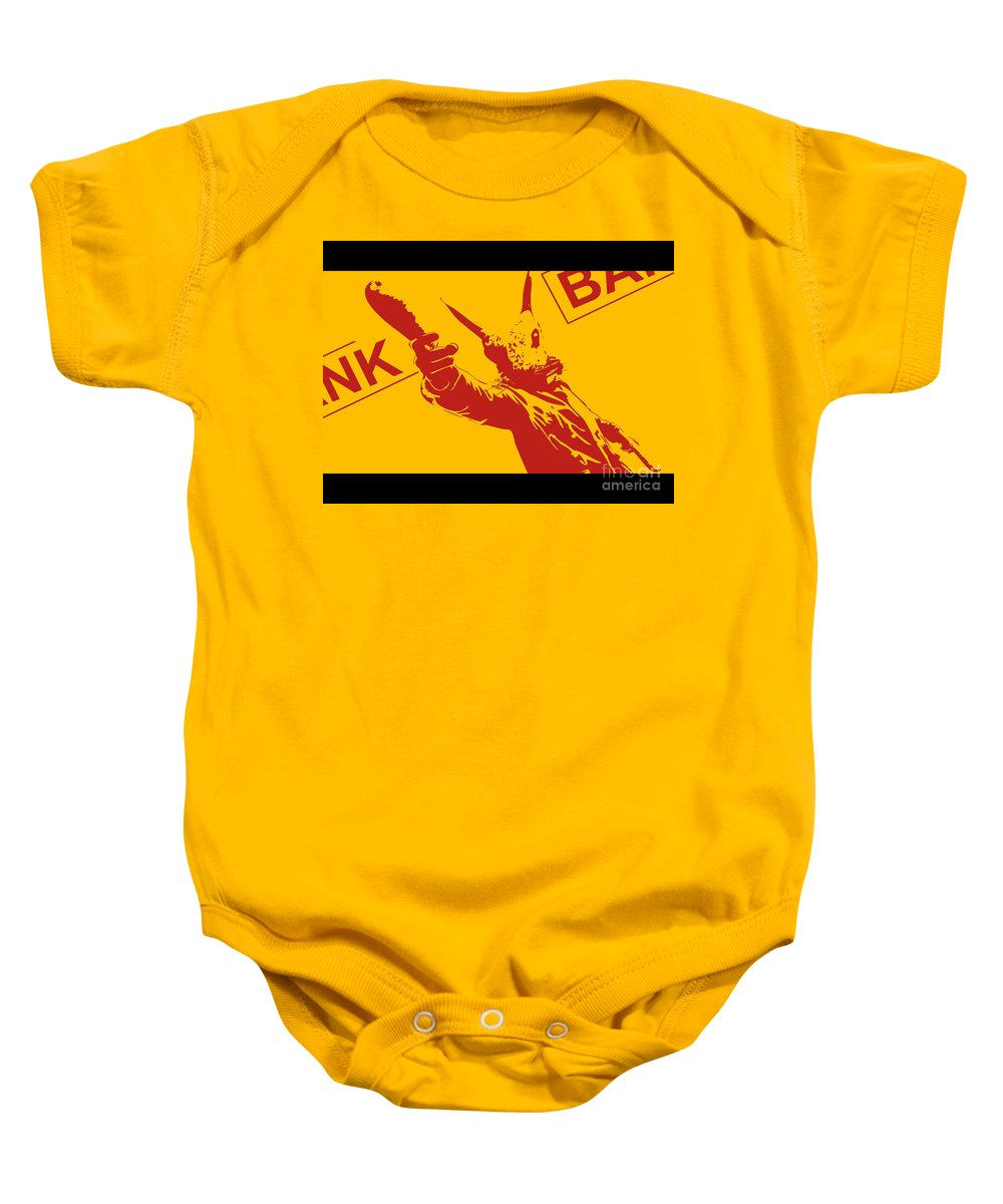 Rabbit Baby Onesie featuring the painting Rabbit Heist by Pixel Chimp