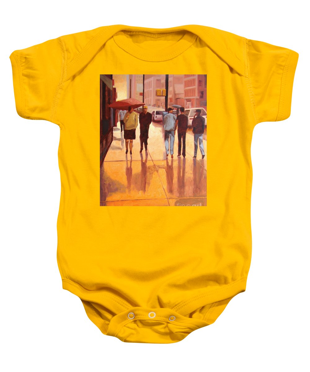 Manhattan Baby Onesie featuring the painting Rain In Manhattan Number Eighteen by Tate Hamilton