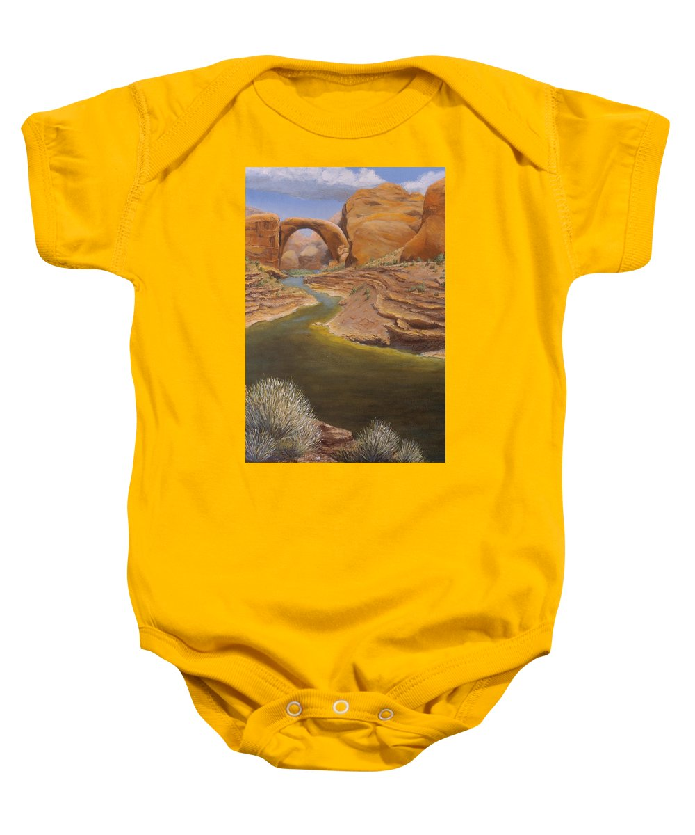 Rainbow Bridge Baby Onesie featuring the painting Rainbow Bridge by Jerry McElroy