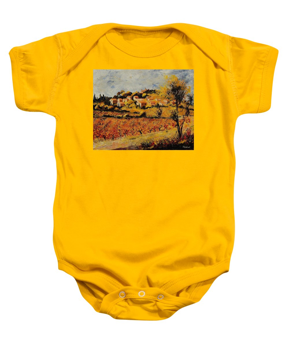 Provence Baby Onesie featuring the painting Rasteau Vaucluse by Pol Ledent