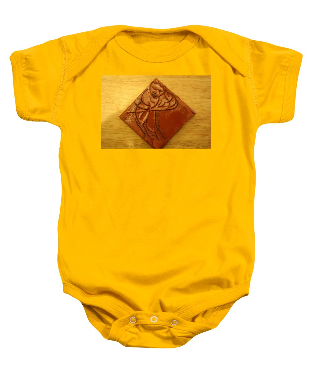 Jesus Baby Onesie featuring the ceramic art Reap - Tile by Gloria Ssali